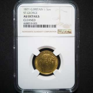 🚚 1871 Great Britain Gold Sovereign NGC AU details