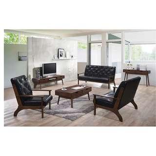 Black Leather Sofa Set