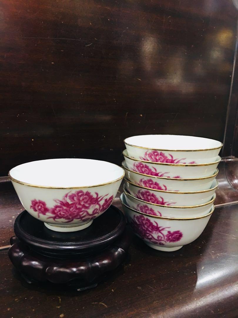 江西景德鎮名瓷1950年左右八個小碗🎋🙀