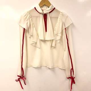 雪紡襯衫 Marie Elie cream white with red silk top size 38