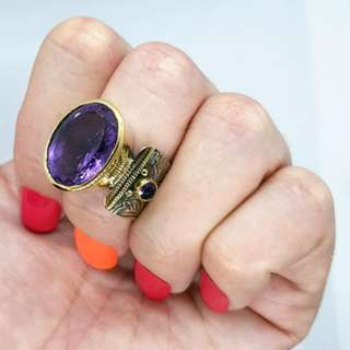 Amethyst Ring, Gold & Silver, Size 8 1/2 US, Focus Gemstone NEW