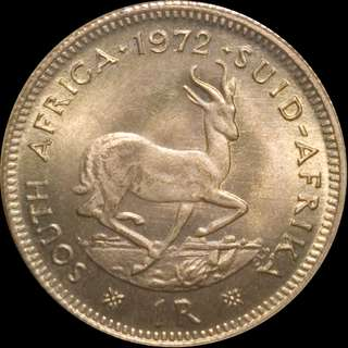 🚚 1972 1 Rand Gold South African coin BU