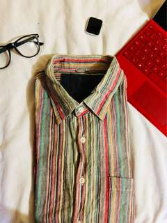 Vertical striped multicolored button down shirt / polo