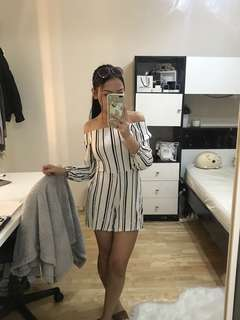 White black striped long sleeve playsuit