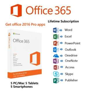 Microsoft Office 365 Account with 2016 Pro Apps For Home & Business 5 Devices (5 TB onedrive cloud storage, Lifetime (Windows & MAC)