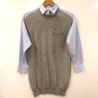 Sacai luck gray with blue shirt long top or dress size 2