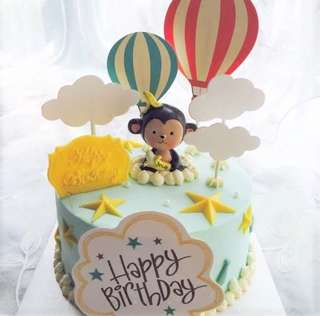 Hot Air Balloon with Clouds Cake Cupcake Toppers Topper Balloons Decoration Party Happy Birthday