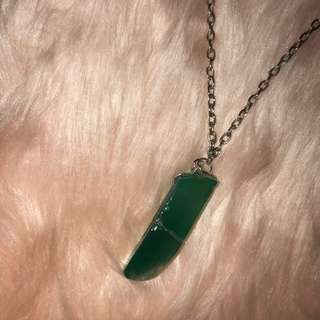 Jade Stone Necklace in silver