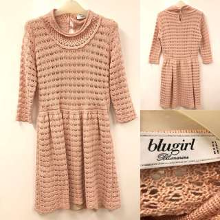 針織連身裙 Blugirl pink knit dress size I40