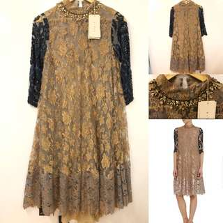 長身裙 New BiYan brown with blue embroidery dress size S