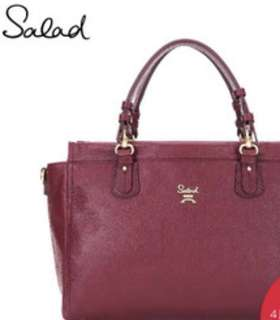 Salad Tote Bag Wine Red 全新未剪tag 正版 酒紅色 紅色 真皮 手袋 側背袋 100% Real & New 半價出售