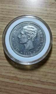 🚚 1878年西班牙阿方索12世小雙柱銀幣 保真 AU原光