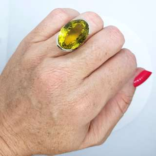 Citrine Ring, Size 6 3/4 US, Sterling Silver, Money Gemstone ♡