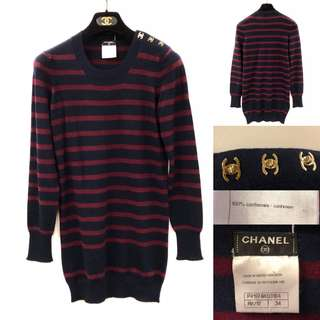Chanel cashmere navy with burgandy stripes sweater size 34