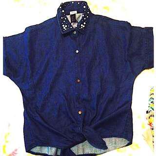 Women's Button Light Jacket in Dark Blue