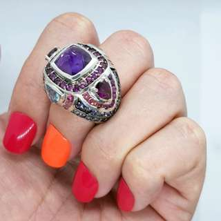 Multi-Gemstone Ring, Size 6 3/4 US, Sterling Silver, Genuine