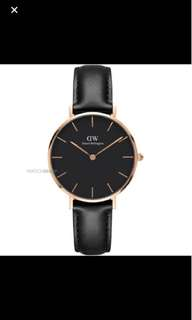 Daniel Wellington 32mm classic black petite rose gold both black Sheffield and st maves  brown leather strap avail