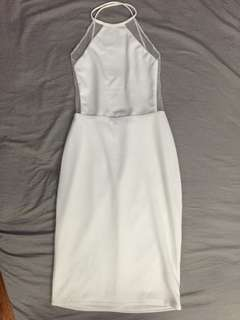 Backless Halter White Dress