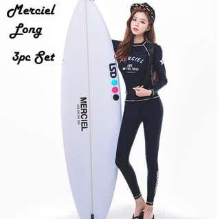 ✔Rashguard Merciel Push-up Padded 3 Pc Long Sleeve Beach Surf pant / Swimsuit with Inner Bikini Panty