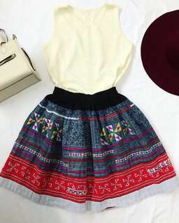 Printed Garterized skirt