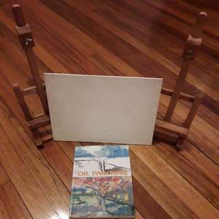 2 mini easels, canvas board & Oil Painting for Beginners book