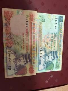 $10 Brunei and $5 Brunei note per piece each of them