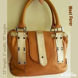 Genuine Soft Lambskin Leather Handbag or Tote Bag. WEST FERER Brand Europe-made, Good Quality & Long-lasting. Coffee Brown Tone with Soft Gold Trimmings. Top Closure is Zipper. Shoulder & Handcarry. Good & Clean Condition.  $38, sms 96337309.