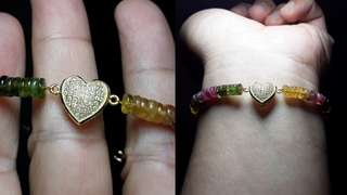 Multicolor Tourmaline Bracelet With Heart Charm