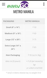 EasyGo shipment fee