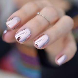 BN 48Pcs Reflective Mirror Light Soft Pink Metal Plating False Nails