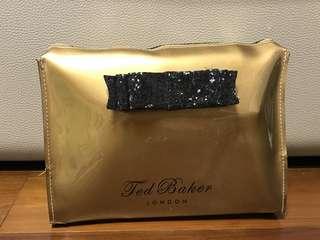 英國Ted Baker UK 化妝袋金色化妝品 旅行包收納包 beauty bag cosmetics bag