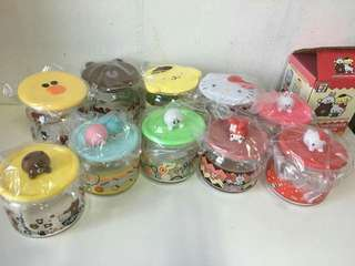 7-11 line friends and sanrio  characters  glass containers