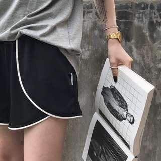 VM 原創2018夏季 寬鬆版 顯瘦撞色 百搭 荷葉擺 韓版運動風短褲