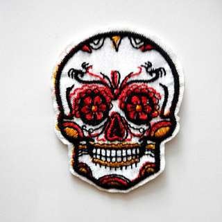 Sugar Skull Voodoo Tattoo Craft Rose White Iron On Patch