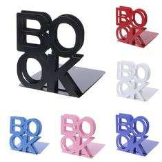 Alphabet Shaped Metal Bookends Iron Support Holder Stands