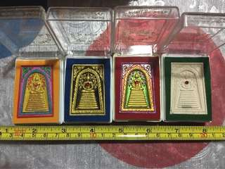 Set of Phra Somdej with red ruby, LP image at back with Lp robe and leklai, Lp Key, Wat Silamyong, BE2556