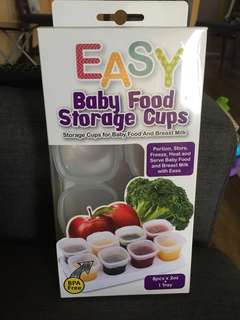 Easy baby food storage cups