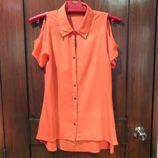 Orange V Neck Polo