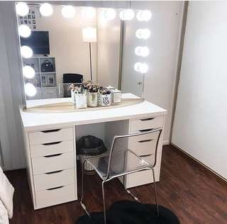 Vanity station (Frameless hollywood mirror, table and wooden stool)