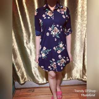 WOMEN'S FLORAL POLO DRESS LONGSLEEVE 2