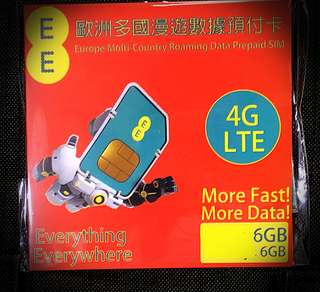 EE歐洲49國6GB 4G 90日上網卡