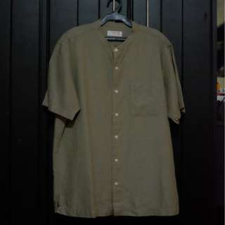 Uniqlo Linen Stand collar Button Down Shirt - Olive - M