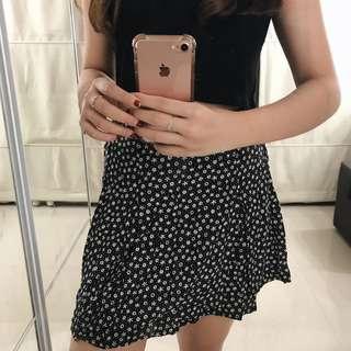 Floral H&M Black Skirt