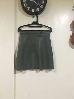 Moss green leather skirt