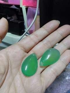 🚚 天然綠玉髓水滴形墜子*2