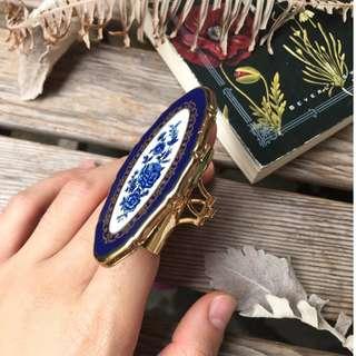Skin&Moss Vintage英國Stratton古董復古二手攜帶式脣形口紅盒小盒隨身鏡