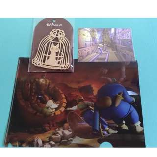 吉卜力的動畫世界 天空之城 魔女宅急便 木質杯墊+明信片+資料夾