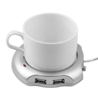 #FREE SHIPPING#Mini USB Electric Cup Coffee Warmer + 2 USB Ports