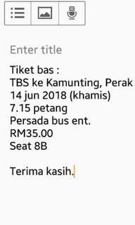 Tiket bas raya TBS -> Taiping