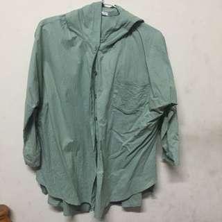 綠色襯衫薄外套 / 二手